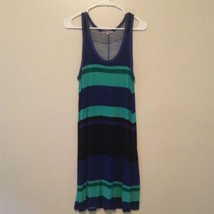 Blue color block tank dress